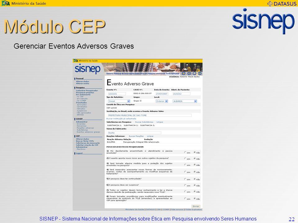 SISNEP - Sistema Nacional de Informações sobre Ética em Pesquisa envolvendo Seres Humanos 22 Módulo CEP Gerenciar Eventos Adversos Graves