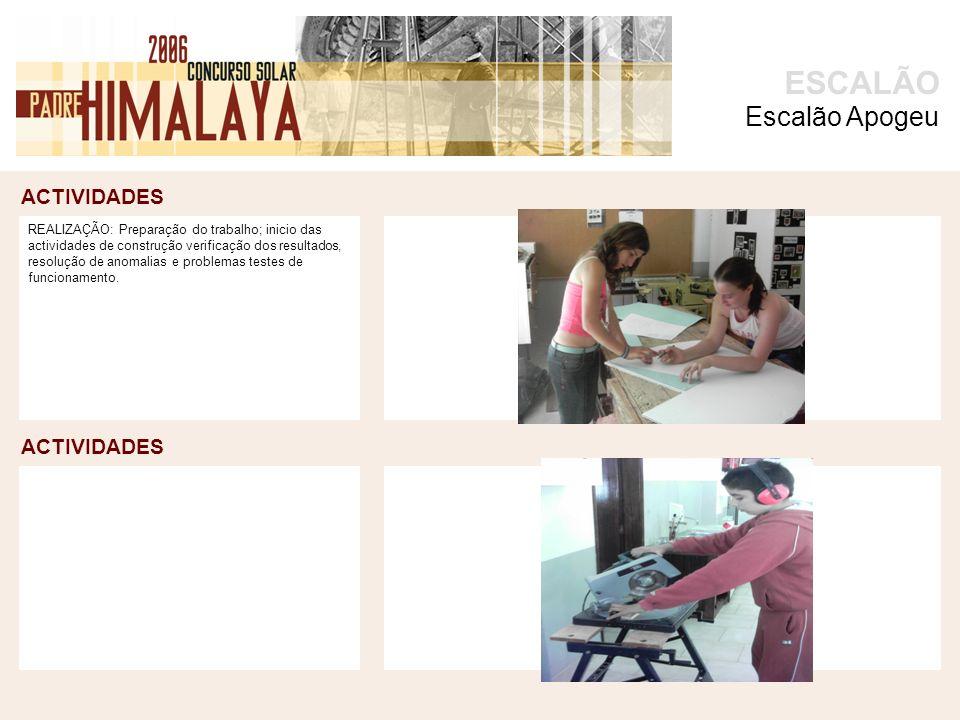 ACTIVIDADES foto ACTIVIDADES ESCALÃO REALIZAÇÃO: Preparação do trabalho; inicio das actividades de construção verificação dos resultados, resolução de anomalias e problemas testes de funcionamento.