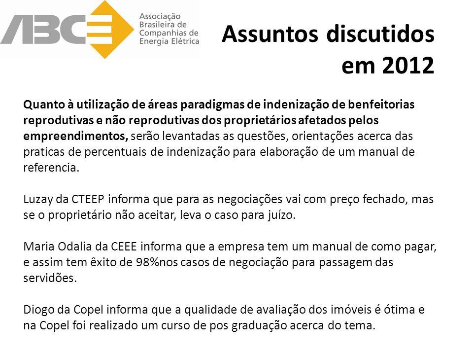 Assuntos discutidos em 2012 Guilherme da CEMIG foi convidado e aceitou coordenar o manual que será elaborado pelo GT acerca das melhores práticas para indenização de servidões dos empreendimentos de energia elétrica – GTD.