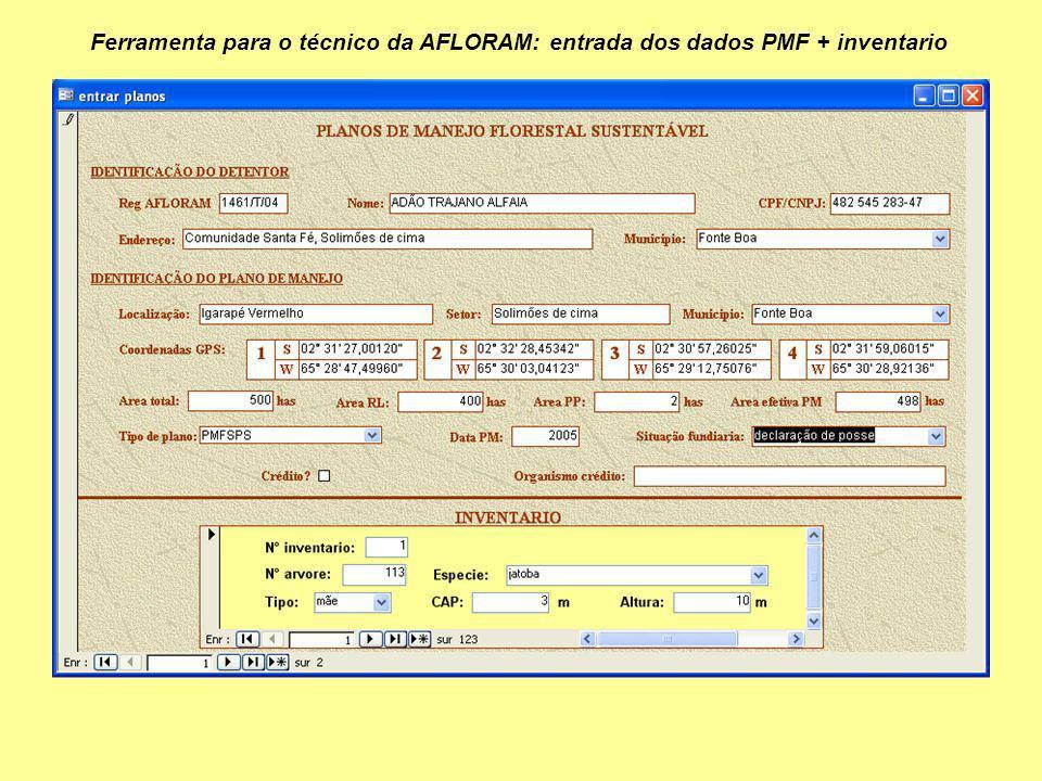 Ferramenta para o técnico da AFLORAM: entrada dos dados PMF + inventario