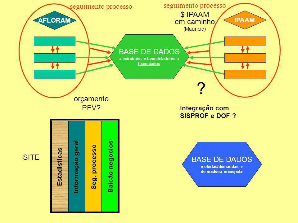AFLORAM IPAAM seguimento processo BASE DE DADOS « extratores e beneficiadores » licenciados BASE DE DADOS « ofertas/demandas » de madeira manejada Balcão negocios Seg.