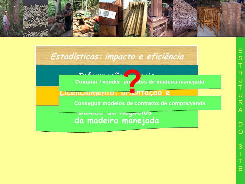 Estadísticas: impacto e eficiência ESTRUTURA DO SITEESTRUTURA DO SITE Informações gerais Licenciamento: orientação e acompanhamento de processo Balcão de negocios da madeira manejada Comprar / vender produtos de madeira manejada Conseguir modelos de contratos de compra/venda ?