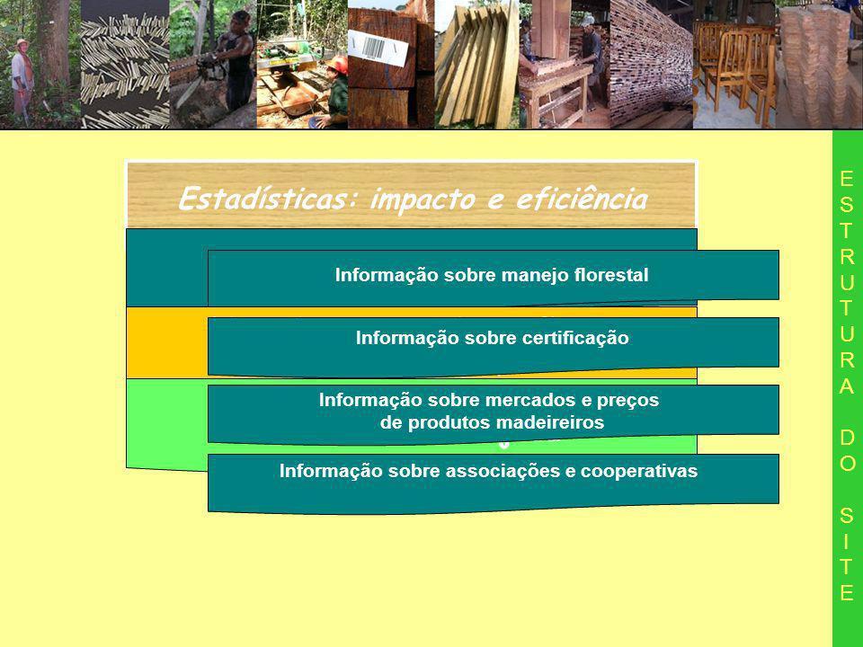 Estadísticas: impacto e eficiência ESTRUTURA DO SITEESTRUTURA DO SITE Informações gerais Informação sobre manejo florestal Licenciamento: orientação e acompanhamento de processo Balcão de negocios da madeira manejada Informação sobre certificação Informação sobre mercados e preços de produtos madeireiros Informação sobre associações e cooperativas