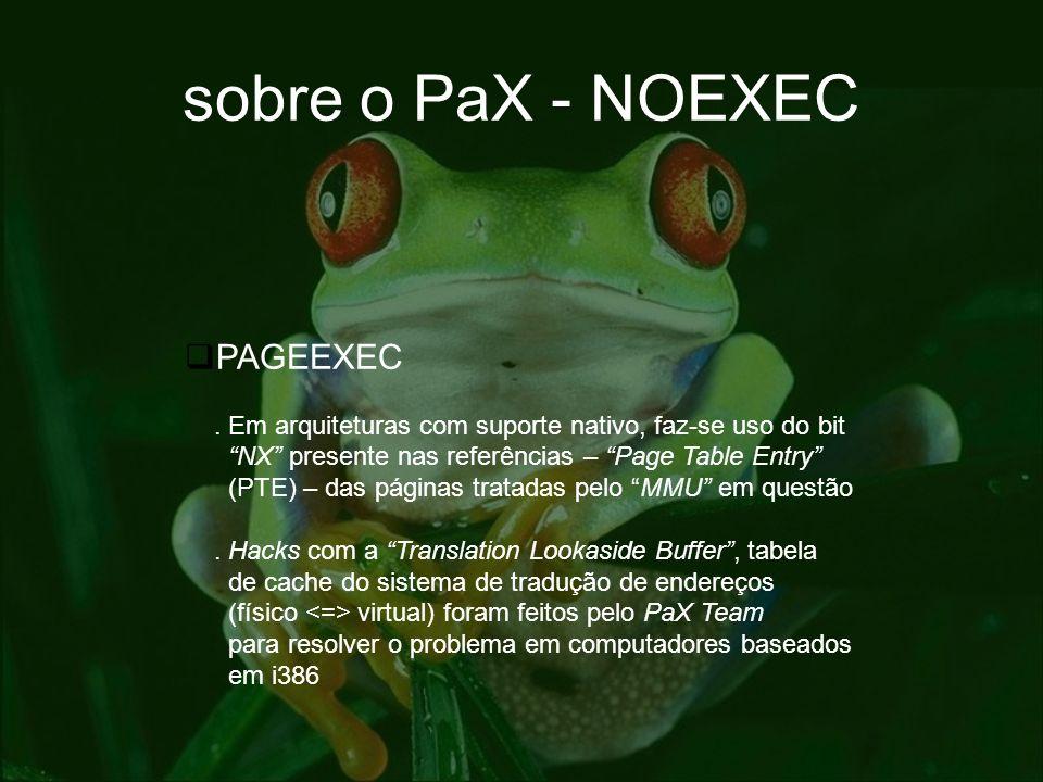 sobre o PaX - NOEXEC PAGEEXEC. Em arquiteturas com suporte nativo, faz-se uso do bit NX presente nas referências – Page Table Entry (PTE) – das página