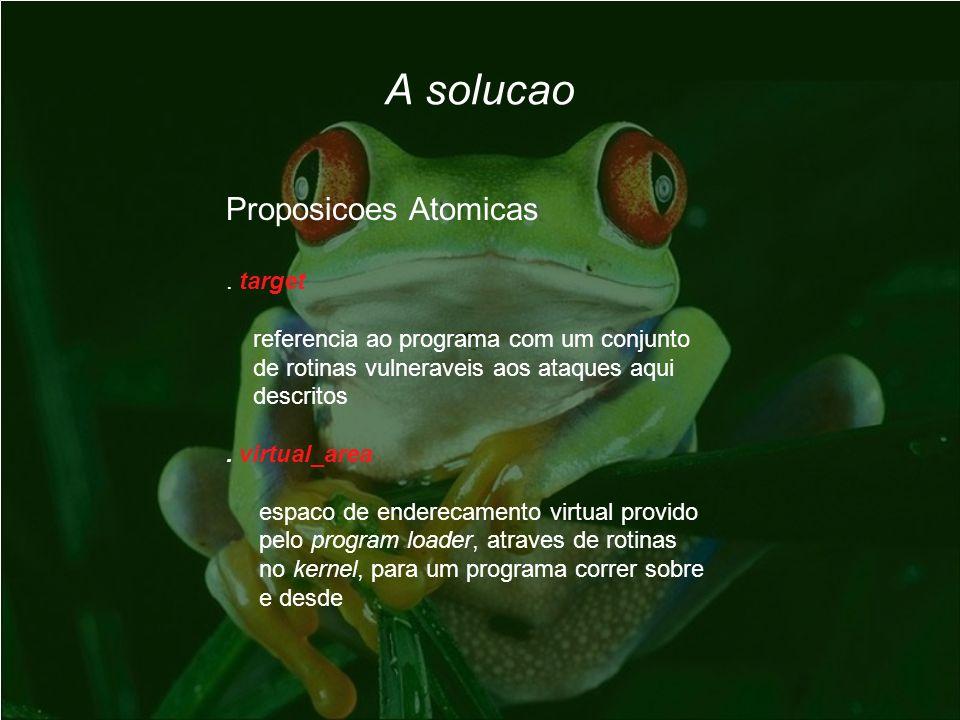 Proposicoes Atomicas. target referencia ao programa com um conjunto de rotinas vulneraveis aos ataques aqui descritos. virtual_area espaco de endereca