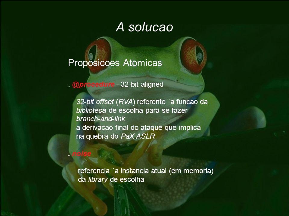 Proposicoes Atomicas. @procedure - 32-bit aligned 32-bit offset (RVA) referente `a funcao da biblioteca de escolha para se fazer branch-and-link. a de
