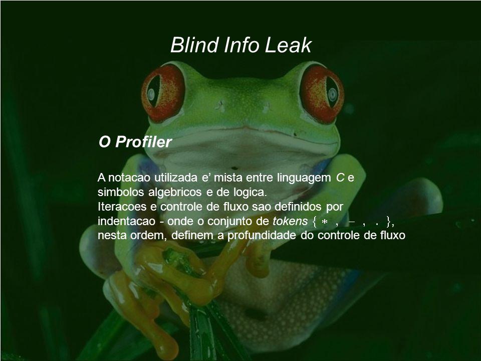 Blind Info Leak O Profiler A notacao utilizada e mista entre linguagem C e simbolos algebricos e de logica. Iteracoes e controle de fluxo sao definido