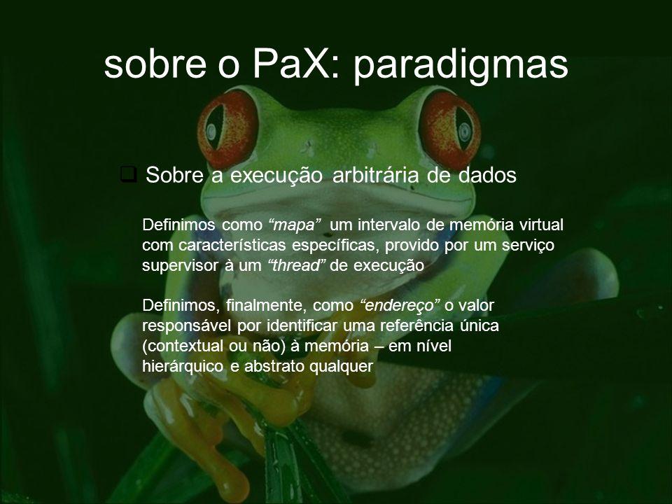 sobre o PaX: paradigmas Sobre a execução arbitrária de dados Definimos como mapa um intervalo de memória virtual com características específicas, prov