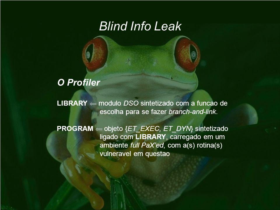 Blind Info Leak O Profiler LIBRARY modulo DSO sintetizado com a funcao de escolha para se fazer branch-and-link. PROGRAM objeto {ET_EXEC, ET_DYN} sint