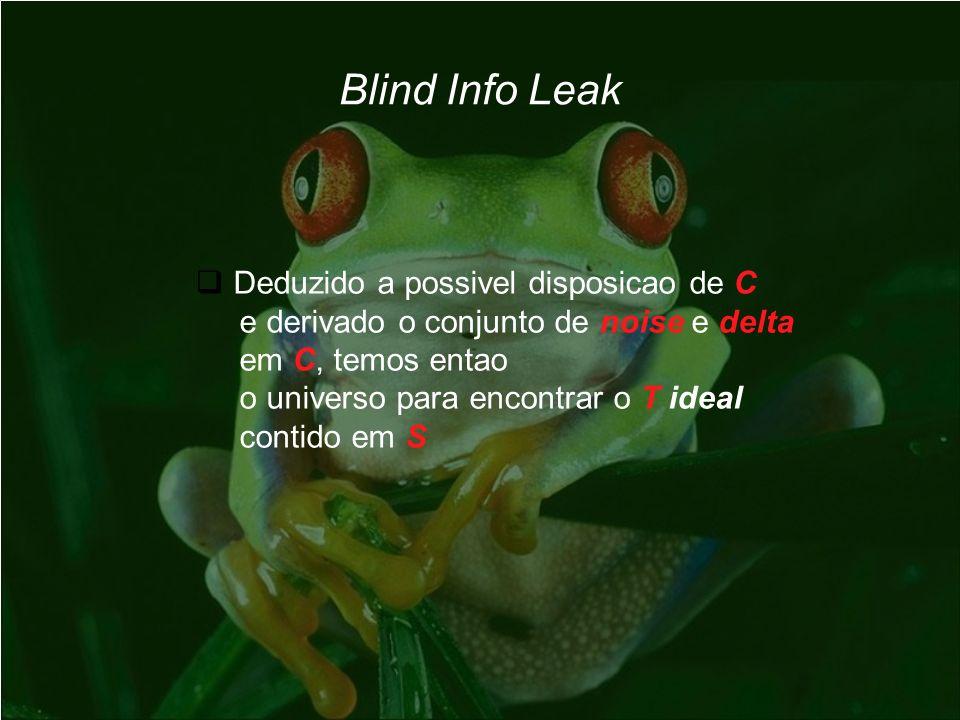 Blind Info Leak Deduzido a possivel disposicao de C e derivado o conjunto de noise e delta em C, temos entao o universo para encontrar o T ideal conti