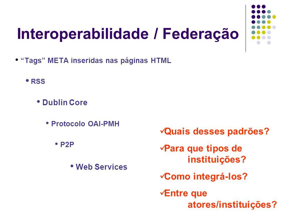 Interoperabilidade / Federação Tags META inseridas nas páginas HTML RSS Dublin Core Protocolo OAI-PMH P2P Web Services Quais desses padrões.