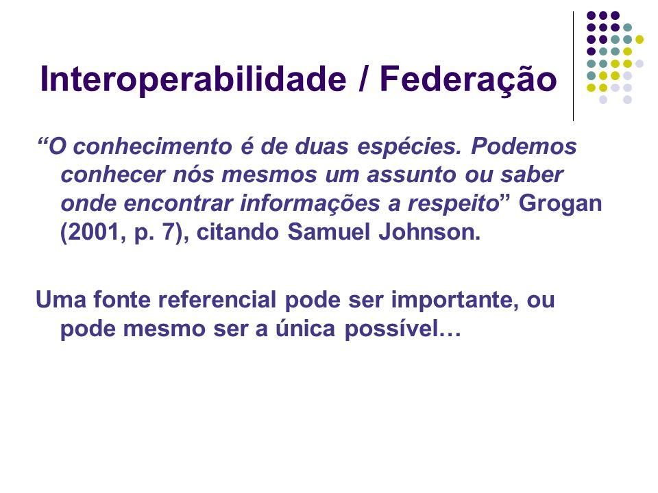Interoperabilidade / Federação O conhecimento é de duas espécies.