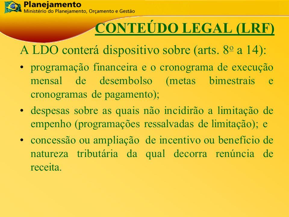 República Federativa do Brasil 11 A LDO conterá dispositivo sobre (arts. 8 o a 14): programação financeira e o cronograma de execução mensal de desemb