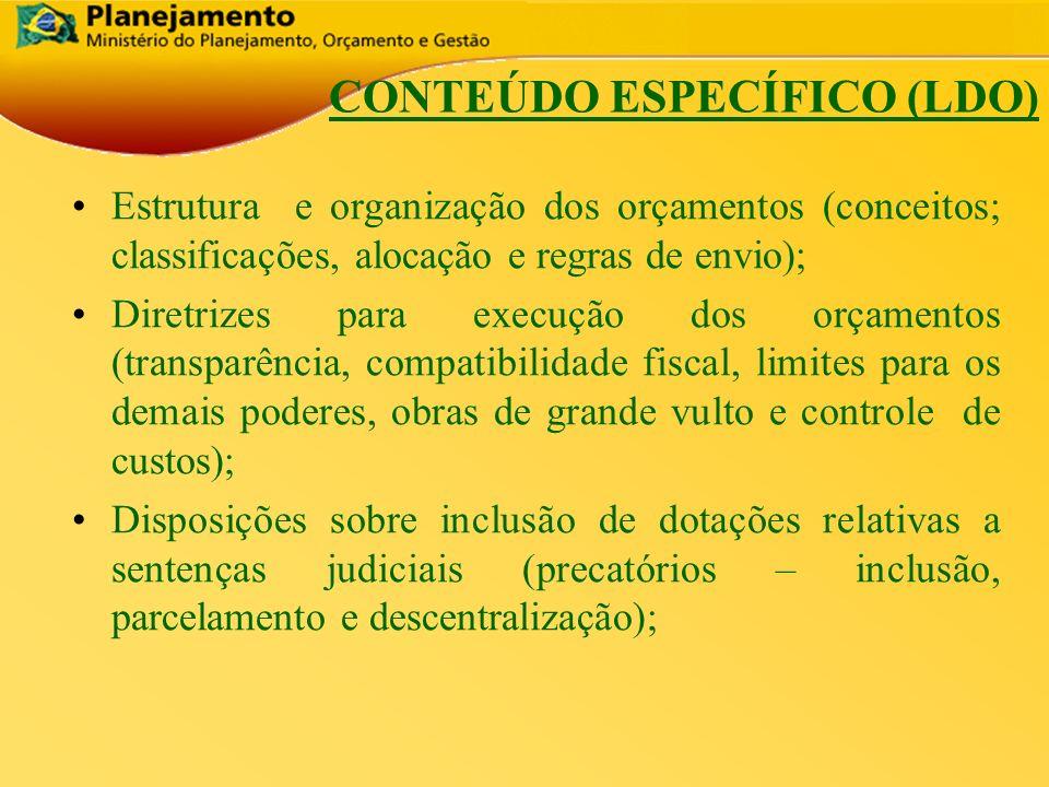 República Federativa do Brasil 13 CONTEÚDO ESPECÍFICO (LDO) Estrutura e organização dos orçamentos (conceitos; classificações, alocação e regras de en