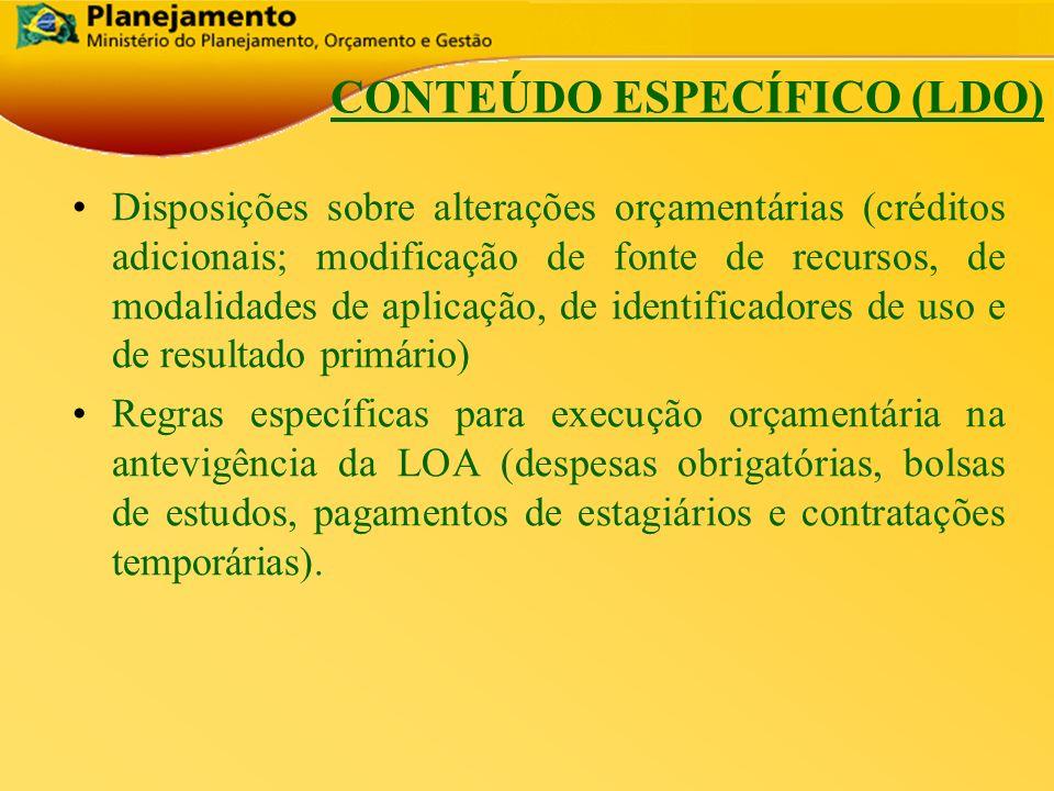 República Federativa do Brasil 14 CONTEÚDO ESPECÍFICO (LDO) Disposições sobre alterações orçamentárias (créditos adicionais; modificação de fonte de r