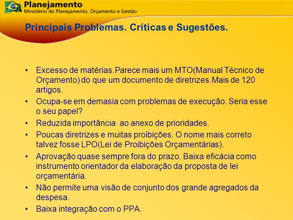 República Federativa do Brasil 21 Principais Problemas. Críticas e Sugestões. Excesso de matérias.Parece mais um MTO(Manual Técnico de Orçamento) do q
