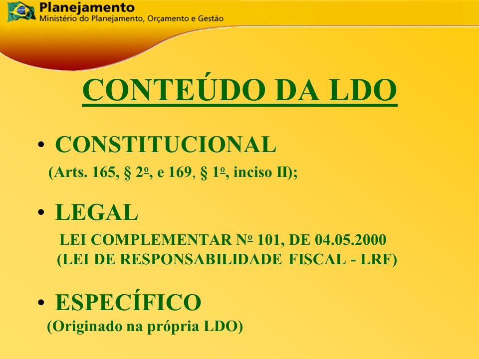 República Federativa do Brasil 3 CONTEÚDO DA LDO CONSTITUCIONAL (Arts. 165, § 2 o, e 169, § 1 o, inciso II); LEGAL LEI COMPLEMENTAR N o 101, DE 04.05.
