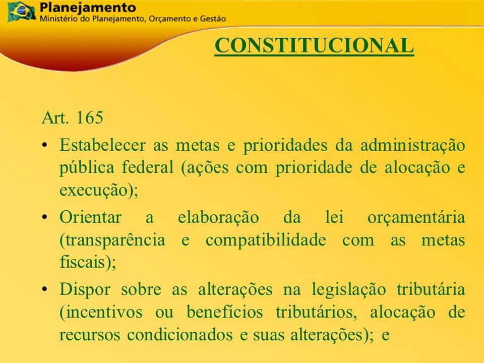 República Federativa do Brasil 4 CONSTITUCIONAL Art. 165 Estabelecer as metas e prioridades da administração pública federal (ações com prioridade de