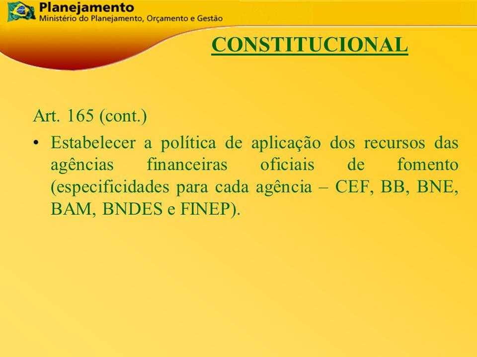 República Federativa do Brasil 5 CONSTITUCIONAL Art. 165 (cont.) Estabelecer a política de aplicação dos recursos das agências financeiras oficiais de