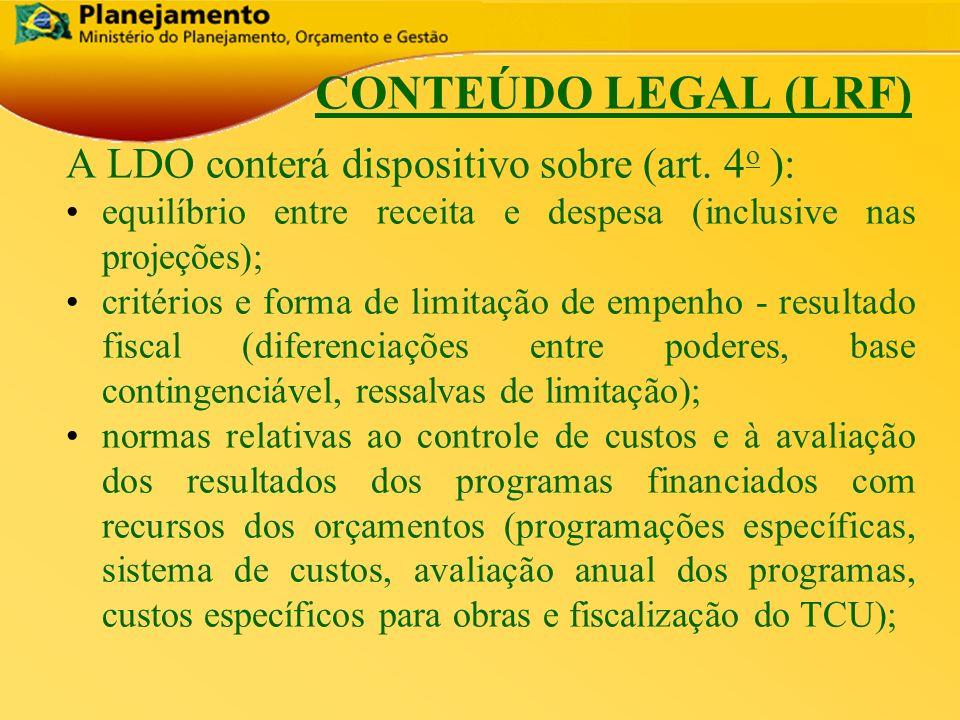 República Federativa do Brasil 7 CONTEÚDO LEGAL (LRF) A LDO conterá dispositivo sobre (art. 4 o ): equilíbrio entre receita e despesa (inclusive nas p