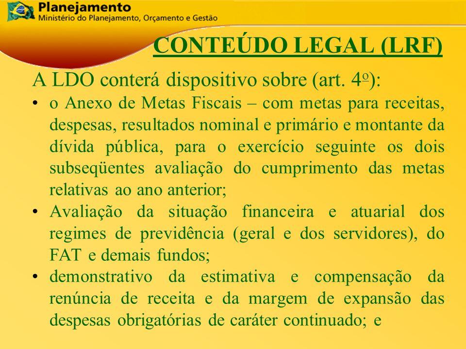 República Federativa do Brasil 8 CONTEÚDO LEGAL (LRF) A LDO conterá dispositivo sobre (art. 4 o ): o Anexo de Metas Fiscais – com metas para receitas,