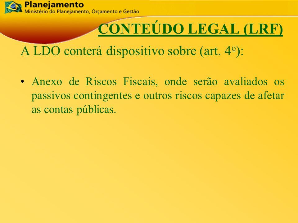 República Federativa do Brasil 9 CONTEÚDO LEGAL (LRF) A LDO conterá dispositivo sobre (art. 4 o ): Anexo de Riscos Fiscais, onde serão avaliados os pa
