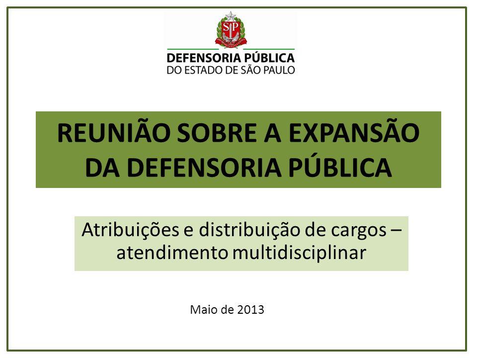 REUNIÃO SOBRE A EXPANSÃO DA DEFENSORIA PÚBLICA Atribuições e distribuição de cargos – atendimento multidisciplinar Maio de 2013