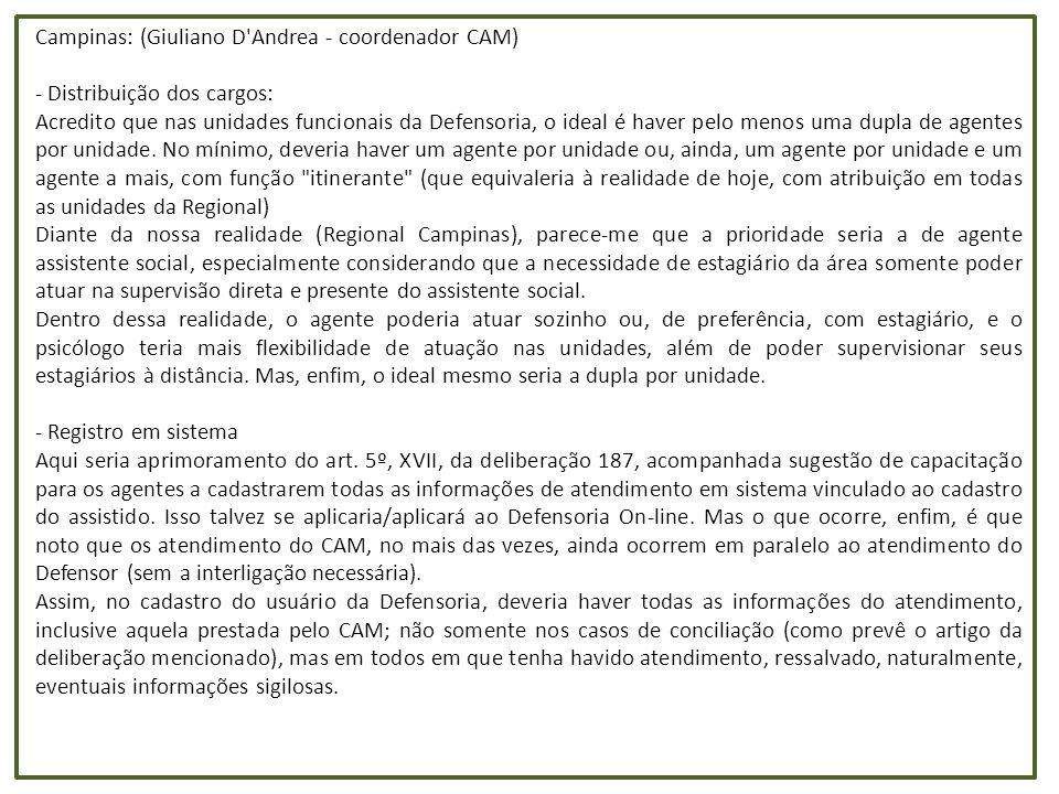 Porcentagem de demandas judiciais sobre os atendimentos iniciais Unidade Atendimentos triagem Demanda judicial nova (DPE) Indicações OAB Indicações outros convênios demanda total (DPE e convênios) / atendimentos triagem Araçatuba190721909919 14,83% Araraquara918918482911 51,79% Bauru1754018245755124550,31% Campinas161582704 5325 39,73% Campinas - Vila Mimosa68011092 Carapicuíba1137524781877 38,29% Franca1192421351809278556,43% Guarulhos3344634005799575844,72% Itaquaquecetuba (ago-dez)6788559630 17,52% Jaú742728032515 71,60% Jundiaí148484283095 23,73% Marília1207015077764 76,81% Mogi das Cruzes876715451046 29,55% Osasco1899635192780 33,16% Piracicaba1211712462189 28,35% Presidente Prudente96981121460165633,38% Registro4292773591 31,78% Ribeirão Preto161892080625416752,51% Santo André (abr-dez)116587613016 32,40% Santos886014972061 40,16% São Bernardo do Campo*1776936032280 33,11% São Carlos105001405528 18,41% São José do Rio Preto1491317911402453951,85% São José dos Campos1727428731929375549,53% São Vicente147119592135 21,03% Sorocaba2045918994280 30,20% Taubaté994523181792 41,33% Total362786500777114219905 38,90% * inclui dados da triagem feita pelos defensores públicos de Diadema Obs: A demanda judicial nova desta tabela inclui as petições iniciais dos relatórios da triagem