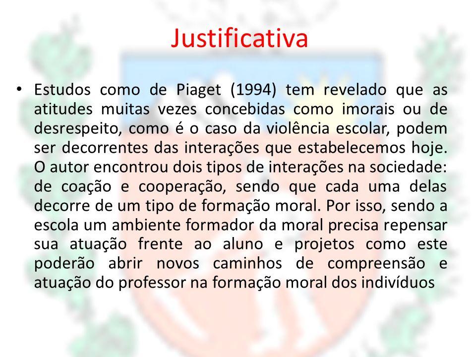 Justificativa Estudos como de Piaget (1994) tem revelado que as atitudes muitas vezes concebidas como imorais ou de desrespeito, como é o caso da viol