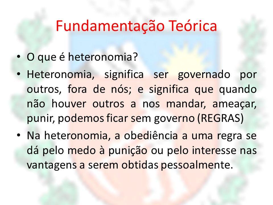 Fundamentação Teórica O que é heteronomia? Heteronomia, significa ser governado por outros, fora de nós; e significa que quando não houver outros a no