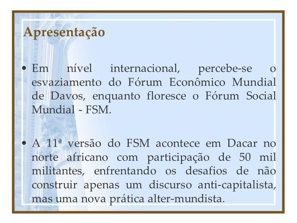 Apresentação Em nível internacional, percebe-se o esvaziamento do Fórum Econômico Mundial de Davos, enquanto floresce o Fórum Social Mundial - FSM. A