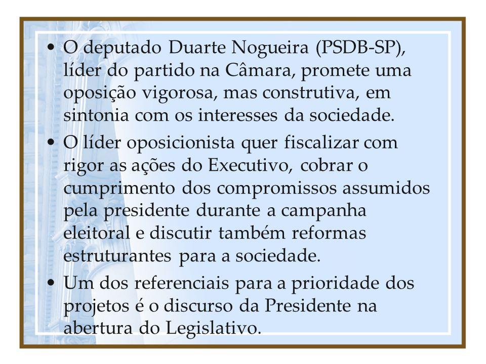 O deputado Duarte Nogueira (PSDB-SP), líder do partido na Câmara, promete uma oposição vigorosa, mas construtiva, em sintonia com os interesses da soc
