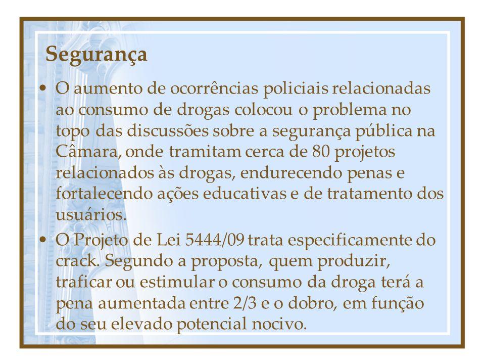 Segurança O aumento de ocorrências policiais relacionadas ao consumo de drogas colocou o problema no topo das discussões sobre a segurança pública na