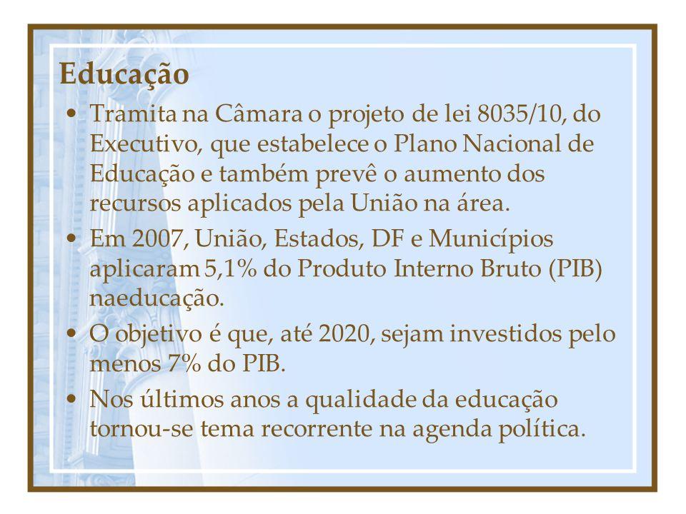 Educação Tramita na Câmara o projeto de lei 8035/10, do Executivo, que estabelece o Plano Nacional de Educação e também prevê o aumento dos recursos aplicados pela União na área.