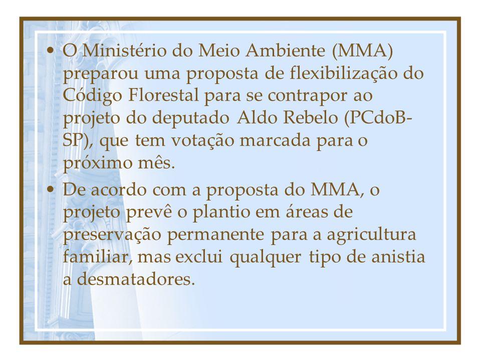 O Ministério do Meio Ambiente (MMA) preparou uma proposta de flexibilização do Código Florestal para se contrapor ao projeto do deputado Aldo Rebelo (PCdoB- SP), que tem votação marcada para o próximo mês.