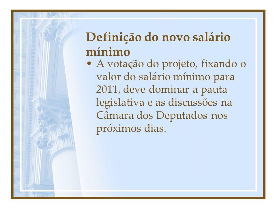 Definição do novo salário mínimo A votação do projeto, fixando o valor do salário mínimo para 2011, deve dominar a pauta legislativa e as discussões na Câmara dos Deputados nos próximos dias.