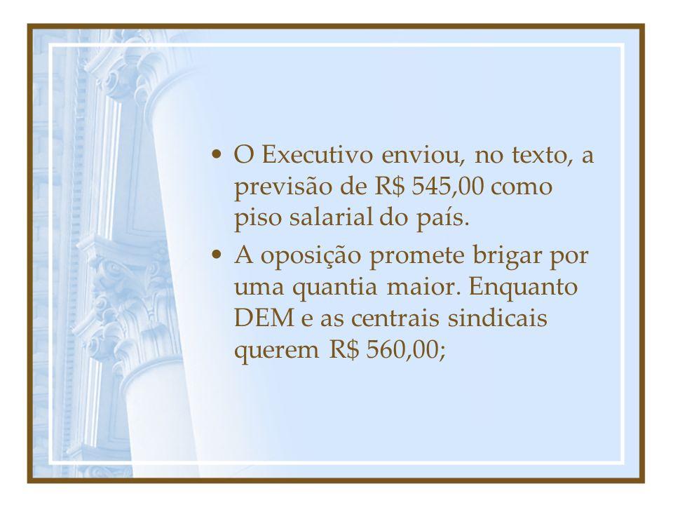 O Executivo enviou, no texto, a previsão de R$ 545,00 como piso salarial do país. A oposição promete brigar por uma quantia maior. Enquanto DEM e as c