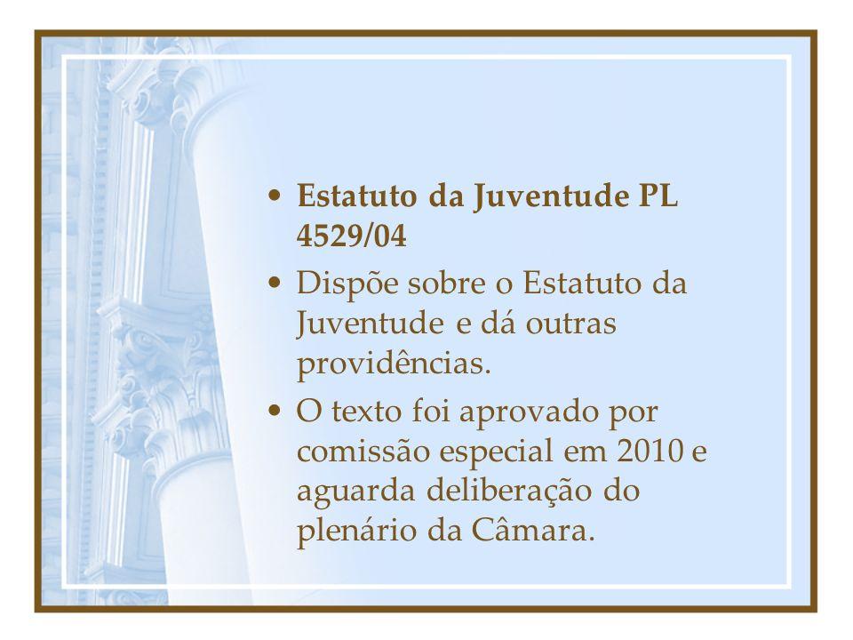 Estatuto da Juventude PL 4529/04 Dispõe sobre o Estatuto da Juventude e dá outras providências. O texto foi aprovado por comissão especial em 2010 e a