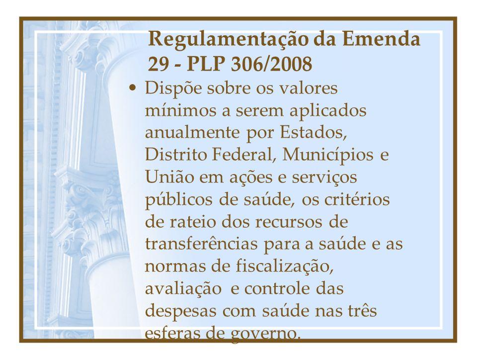 Regulamentação da Emenda 29 - PLP 306/2008 Dispõe sobre os valores mínimos a serem aplicados anualmente por Estados, Distrito Federal, Municípios e Un