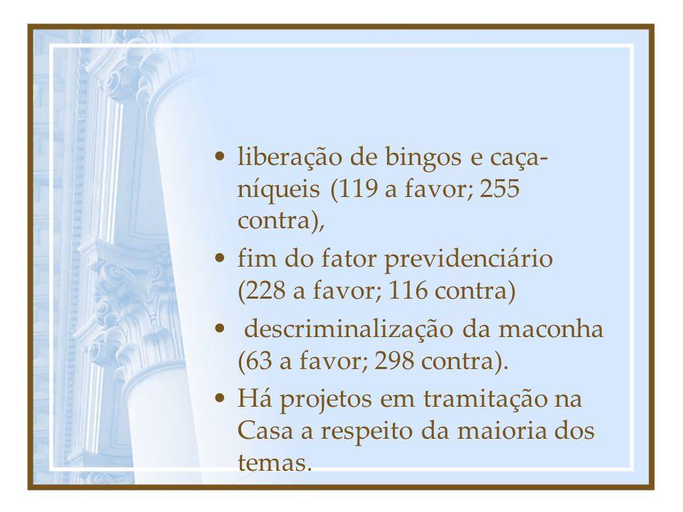 liberação de bingos e caça- níqueis (119 a favor; 255 contra), fim do fator previdenciário (228 a favor; 116 contra) descriminalização da maconha (63 a favor; 298 contra).