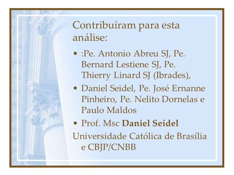 Contribuíram para esta análise: :Pe. Antonio Abreu SJ, Pe. Bernard Lestiene SJ, Pe. Thierry Linard SJ (Ibrades), Daniel Seidel, Pe. José Ernanne Pinhe