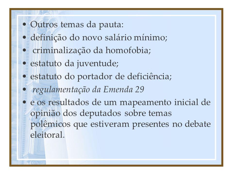 Outros temas da pauta: definição do novo salário mínimo; criminalização da homofobia; estatuto da juventude; estatuto do portador de deficiência; regu