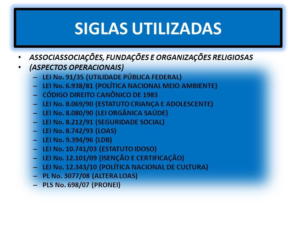 SIGLAS UTILIZADAS ASSOCIASSOCIAÇÕES, FUNDAÇÕES E ORGANIZAÇÕES RELIGIOSAS (ASPECTOS OPERACIONAIS) – LEI No. 91/35 (UTILIDADE PÚBLICA FEDERAL) – LEI No.