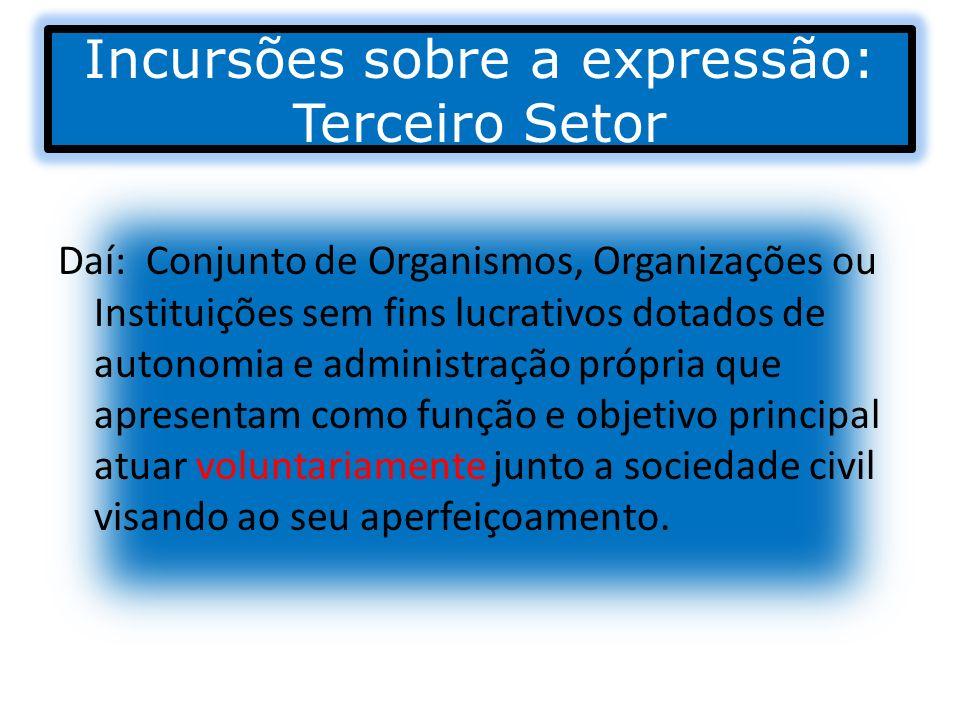 Incursões sobre a expressão: Terceiro Setor Daí: Conjunto de Organismos, Organizações ou Instituições sem fins lucrativos dotados de autonomia e admin