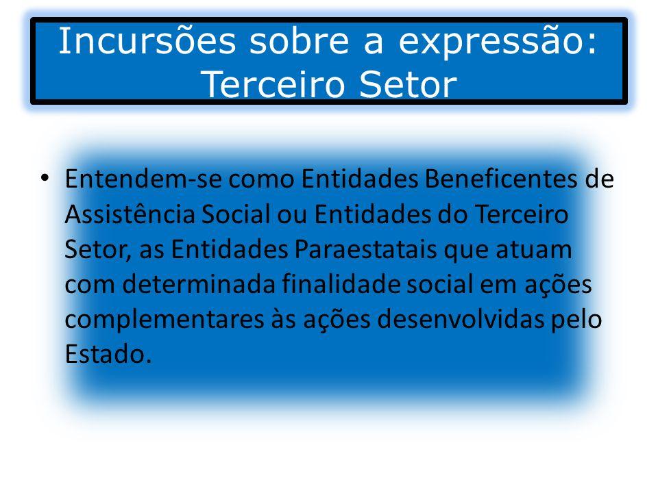 Incursões sobre a expressão: Terceiro Setor Entendem-se como Entidades Beneficentes de Assistência Social ou Entidades do Terceiro Setor, as Entidades