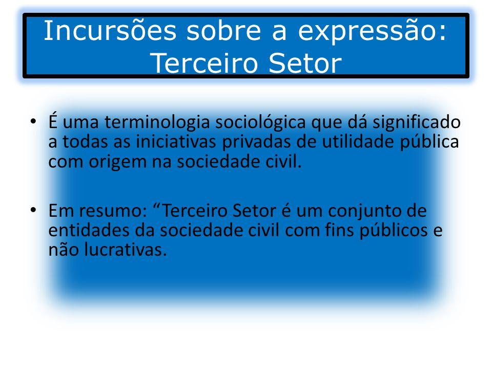 Incursões sobre a expressão: Terceiro Setor É uma terminologia sociológica que dá significado a todas as iniciativas privadas de utilidade pública com