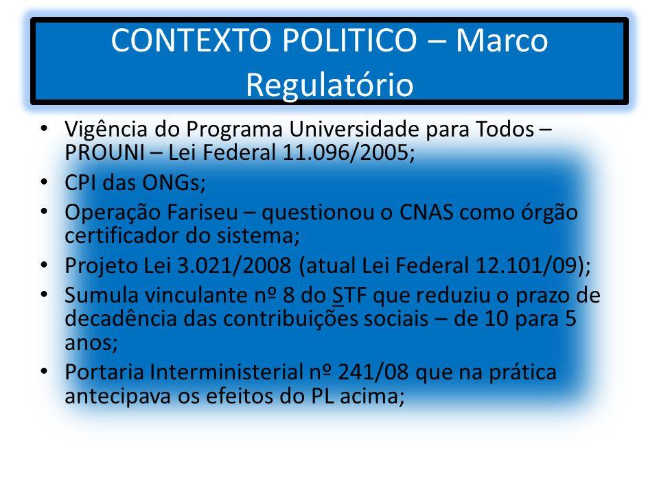 CONTEXTO POLITICO – Marco Regulatório Vigência do Programa Universidade para Todos – PROUNI – Lei Federal 11.096/2005; CPI das ONGs; Operação Fariseu