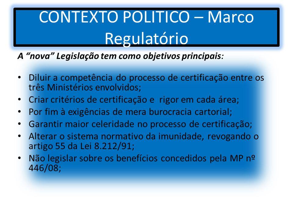 CONTEXTO POLITICO – Marco Regulatório A nova Legislação tem como objetivos principais : Diluir a competência do processo de certificação entre os três
