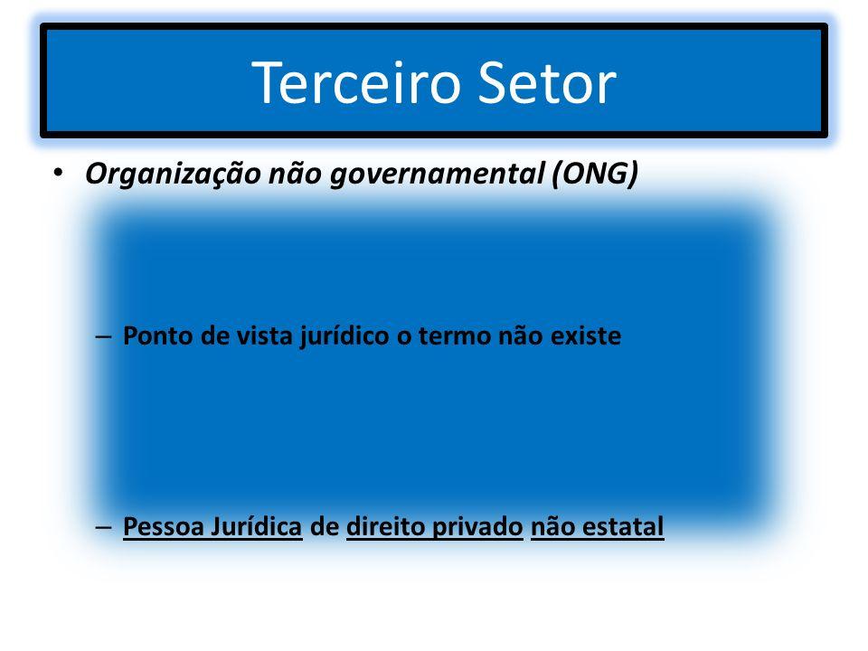Terceiro Setor Organização não governamental (ONG) – Ponto de vista jurídico o termo não existe – Pessoa Jurídica de direito privado não estatal