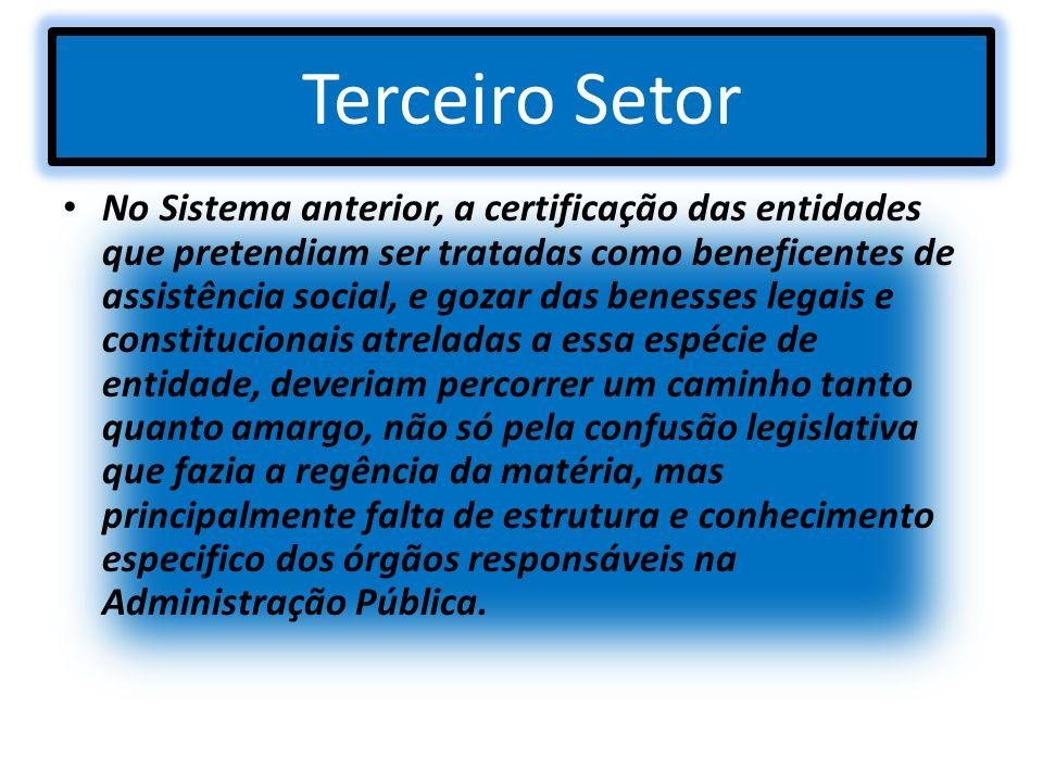 Terceiro Setor No Sistema anterior, a certificação das entidades que pretendiam ser tratadas como beneficentes de assistência social, e gozar das bene